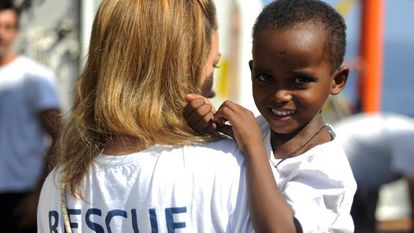 One of the children currently on the 'Aquarius.'