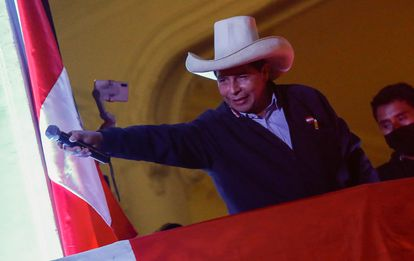 Pedro Castillo celebrating with followers on Thursday in Lima