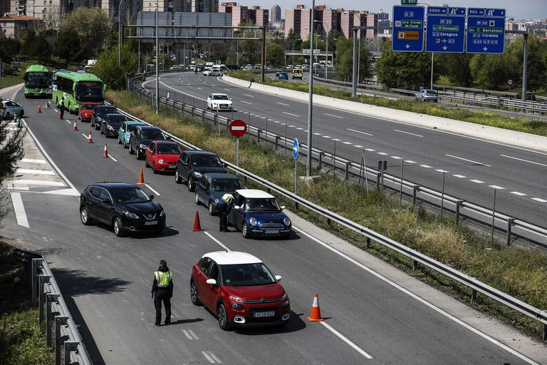 Police checkpoint in Madrid over the Easter long weekend.