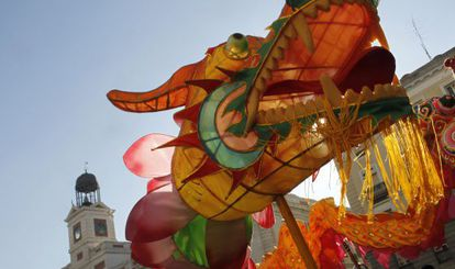 Chinese New Year celebrations in Madrid's Puerta del Sol square.
