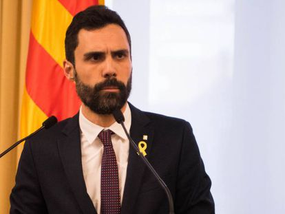 President of the Parliament of Catalonia, Roger Torrent delivers a speech at the Parliament of Catalonia.
