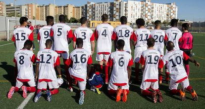 The players of Alma de África with their protest jerseys.