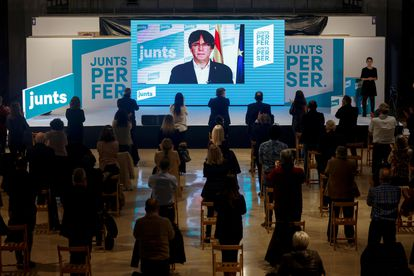 Ex-Catalan premier Carles Puigdemont participating in a Junts campaign event on Thursday.