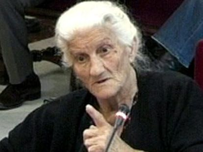 María Martín López, aged 81, testifies before the Supreme Court on Wednesday in the trial of Judge Garzón.