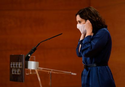 Madrid Premier Isabel Díaz Ayuso during her appearance on Thursday.