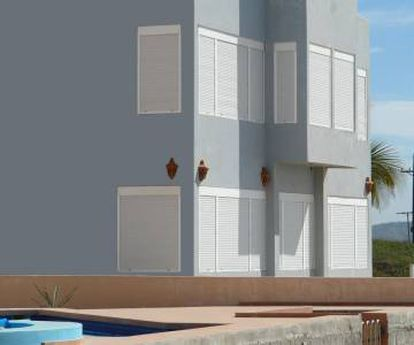 Shutters in Costa del Sol, the sunniest place in Spain.