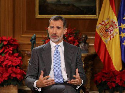 Spain's King Felipe during his Christmas message.