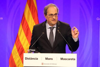 Catalan premier Quim Torra at a news conference on Thursday.