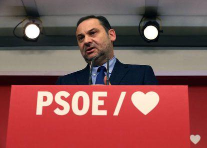 PSOE Organization Secretary José Luís Ábalos at a news conference on Tuesday.