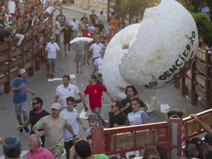 The Madrid mountain village of Matalpino is exporting its own peculiar take on the tradition of the Running of the Bulls