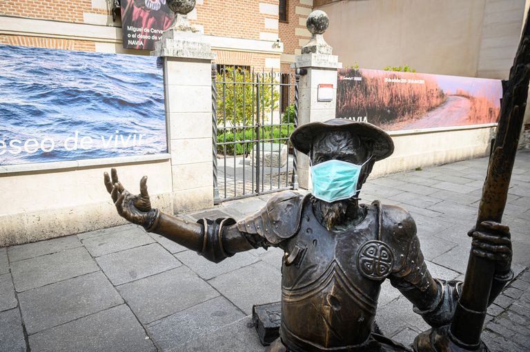 A statue of Don Quixote in Alcalá de Henares, in the Madrid region, which is the epicenter of the coronavirus outbreak in Spain.