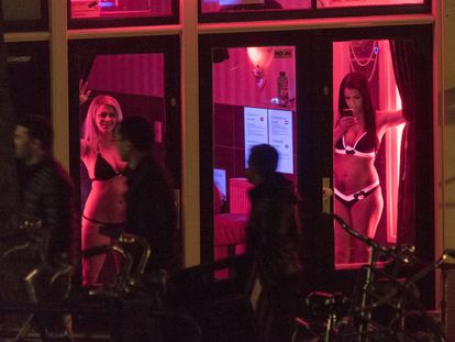 Sex workers in Amsterdam's red light district.