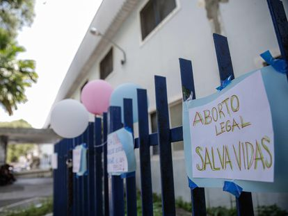 """""""Legal abortion saves lives,"""" reads this sign outside a hospital in Recife, Brazil."""
