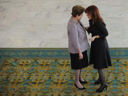 Brazilian President Dilma Rousseff and Argentina's Cristina Fernández de Kirchner meet last December in Brasilia.