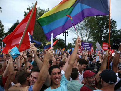 Gay rights activists celebrating in front of the Supreme Court.