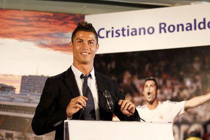Cristiano Ronaldo at the Santiago Bernabéu stadium on Sunday.
