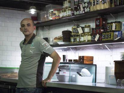 Bilal El Meghrau at the Barcelona restaurant where he works.