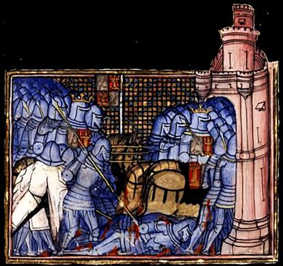 A medieval depiction of the Battle of Montiel in Spain.