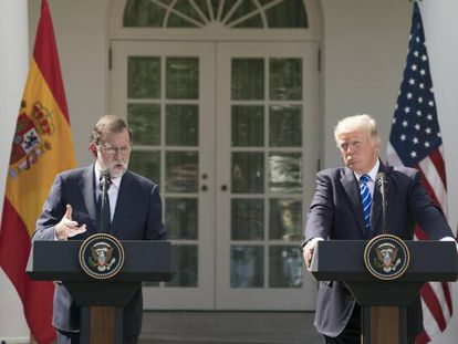 US President Donald Trump and Spanish Prime Minister Mariano Rajoy at the White House.