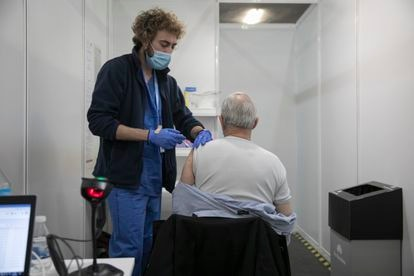 A mass vaccination site in Barcelona.