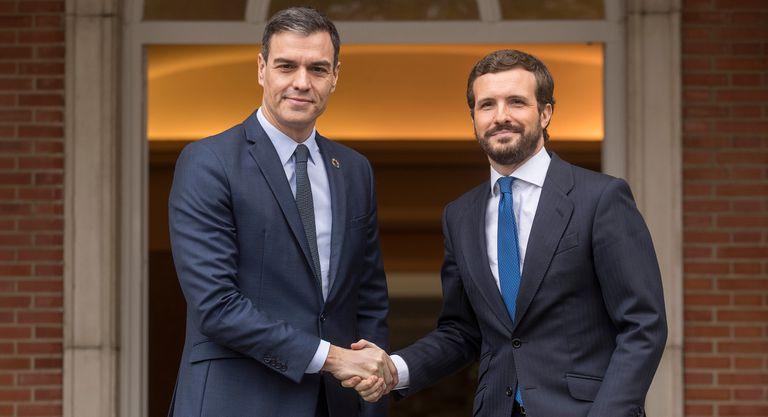 Pedro Sanchez (l) and Pablo Casado on Monday.