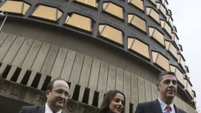 Catalan opposition leaders outside the Constitutional Court on Wednesday.