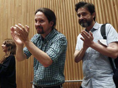 Unidas Podemos leader Pablo Iglesias (c) in Congress on Wednesday.