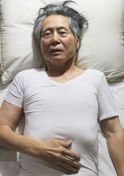 The photo of ex-president of Peru, Alberto Fujimori, which has been posted on the internet.