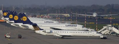 Planes belonging to Germanwings parent company Lufthansa in Düsseldorf in 2013.
