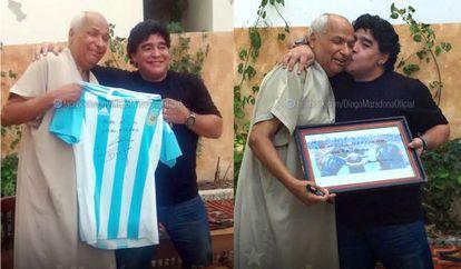 Maradona with former World Cup referee Ali Bennaceur.
