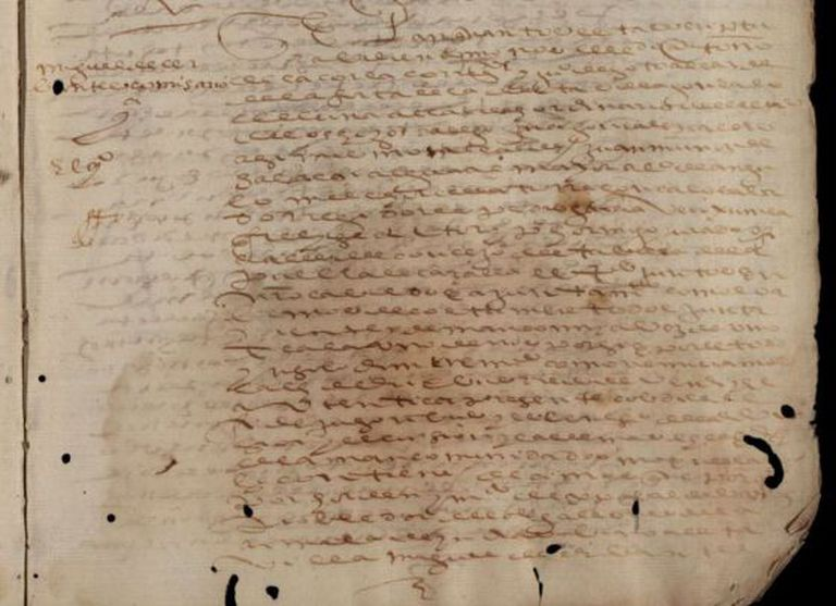 A close-up of one of the documents that identifies Cervantes as a royal tax collector.