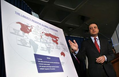 Federal prosecutor Preet Bharara descibes charges against Liberty Reserve.