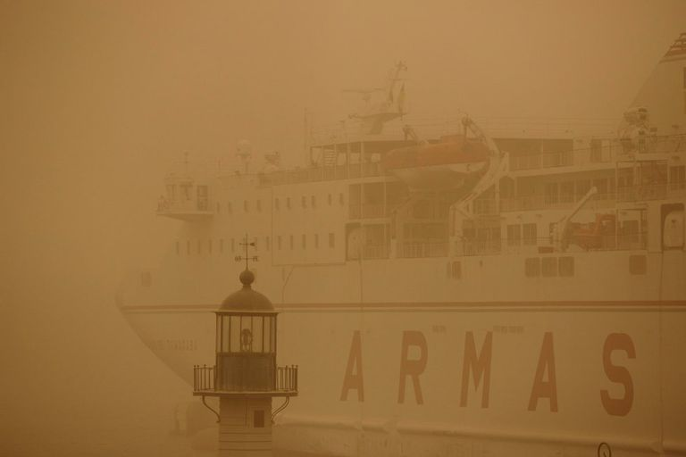 A ferry docked in Tenerife due to the sandstorm.