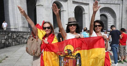 Franco nostalgics protesting in July at the government's plan to exhume his body.