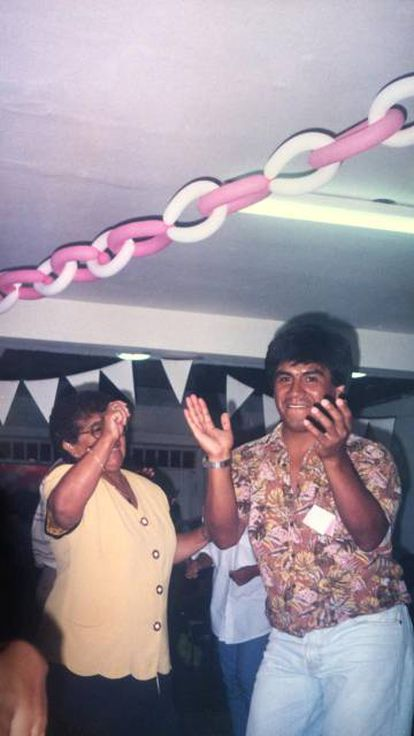 Carlos Perry at a party in the 1990s.