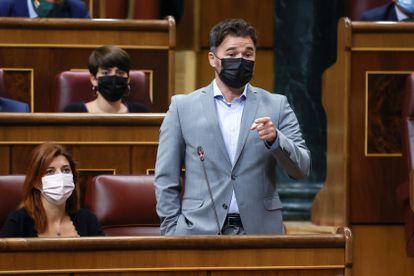 ERC congressional spokesperson Gabriel Rufián speaking on Wednesday inside Spain's Congress of Deputies.