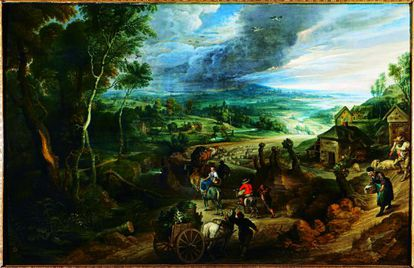 Among the artistic treasures of the Liria Palace is the Rubens painting, Road to Market.