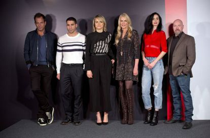 From left to right: Will Arnett, Miguel Ángel Silvestre, Taylor Schilling, Daryl Hannah, Kyrsten Ritter and Steven DeKnight, at the Netflix presentation in Madrid on Tuesday.