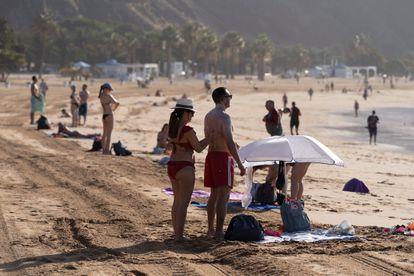 Beachgoers in Las Teresitas, in the Canary island of Tenerife.