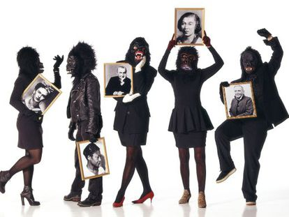 Five artists from the Guerrilla Girls collective wearing trademark gorilla masks in a photograph for 'The New York Times.'