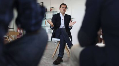 Rivera during the interview from Ciudadanos headquarters in Madrid.