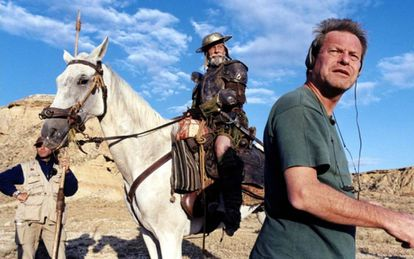 Terry Gilliam and Jean Rochefort during the 2000 shoot.