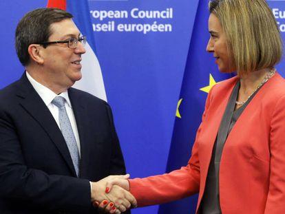 EU foreign affairs chief Federica Mogherini with Cuban counterpart Bruno Rodríguez Parrilla.