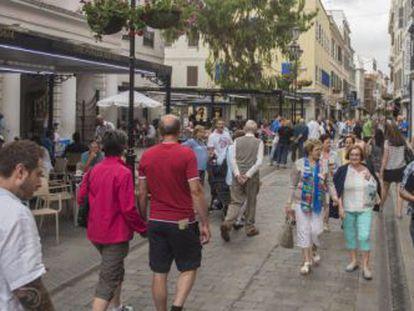 Gibraltar's bustling Main Street.