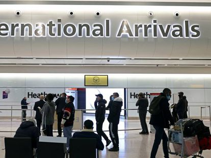 The arrivals hall at Heathrow Airport in London.