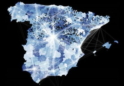 Map of flow of Tweets around Spain based on journeys of Twitter users.