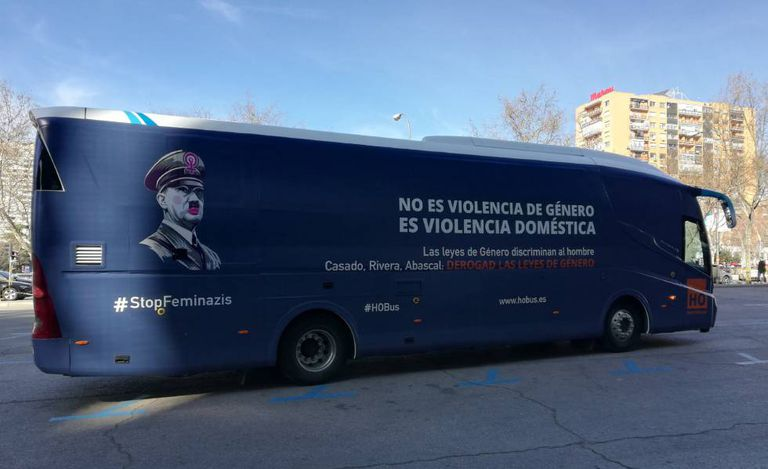 The bus calls for the repeal of gender violence laws.