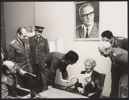 Kuczynski with Stasi officers at the GDR Ministry for State Security after her retirement.