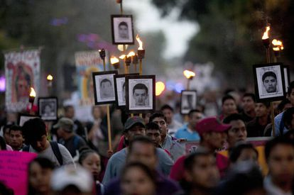 One of the many protests calling for action over the Ayotzinapa disappearances.
