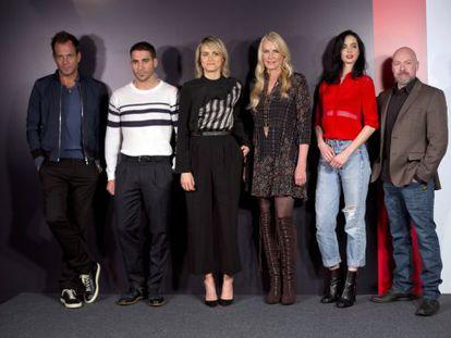 From left to right: Will Arnett, Miguel Ángel Silvestre, Taylor Schilling, Daryl Hannah, Kyrsten Ritter and Steven DeKnight, at the Netflix presentation in Madrid on Tuesday.